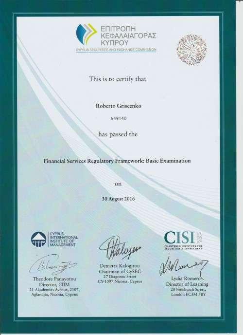 Certificato a Roberto Griscenko per passato esame di regole servizi finanziari