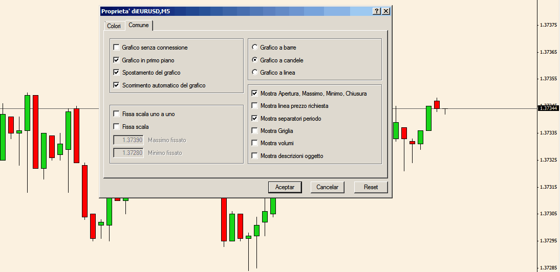 Comune: impostare grafico con scorrimento automatico