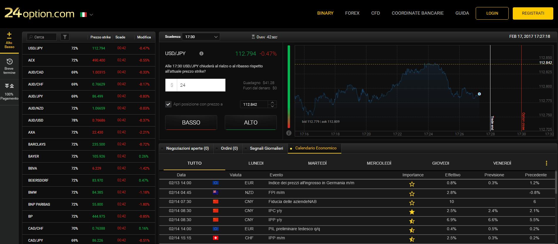 pagina di accesso agli strumenti di trading