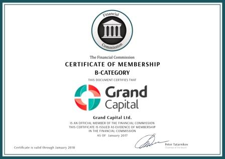Certificato FinaCom Grand Capital