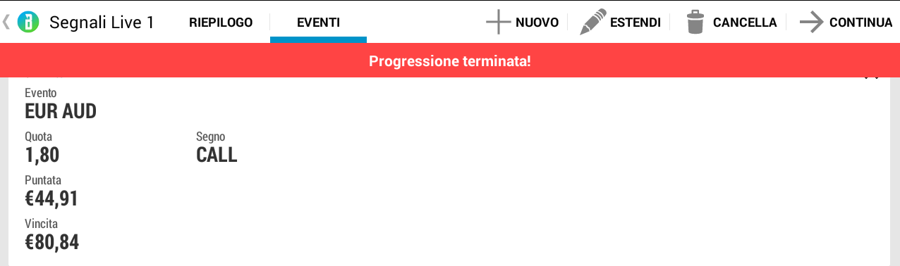 Strategia Masaniello progressione terminata
