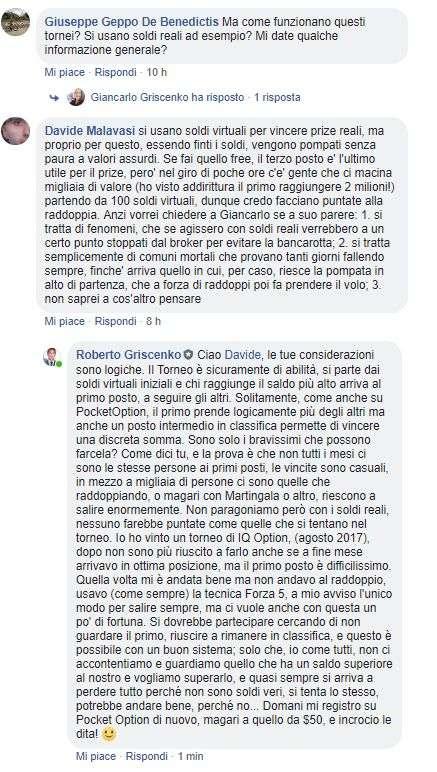 commenti gruppo facebook sui tornei