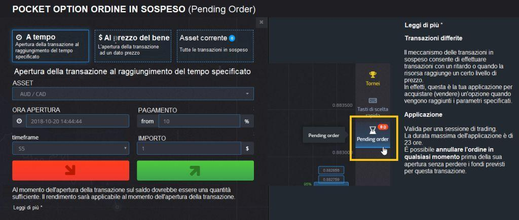 Funzione pending Pocket Option