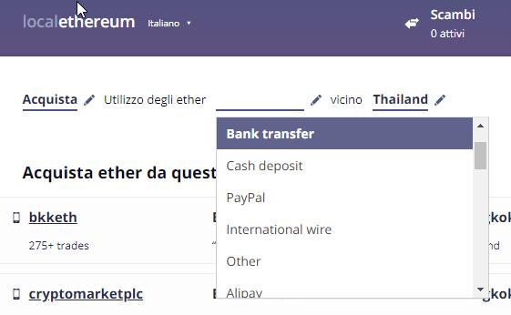 decidi come vuoi pagare gli eth, esempio, trasferimento bancario