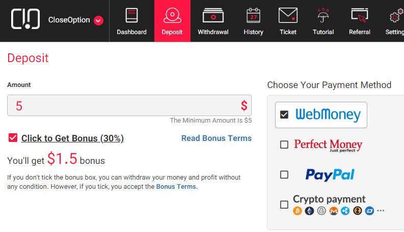 Tipi di Deposito PayPal, WebMoney, Perfect Money e Cripto come BitCoin, Ethereum ecc. Il buono del 30% è subito indicato