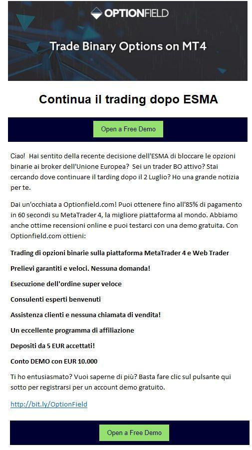 Recensione OptionField broker opzioni binarie no esma