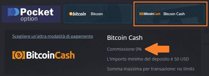 Opzione di deposito con Bitcoin Cash su PocketOption