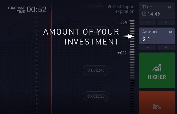 Specifica il valore dell'investimento nella parte alta a destra del menù.