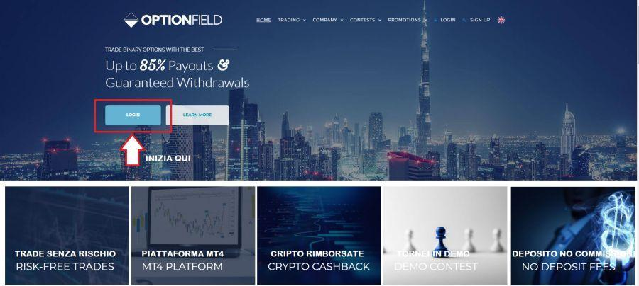 La Home Page di OptionField. necessario registrarsi per accedere al demo