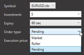 Tipi di ordine Market Roller Pending