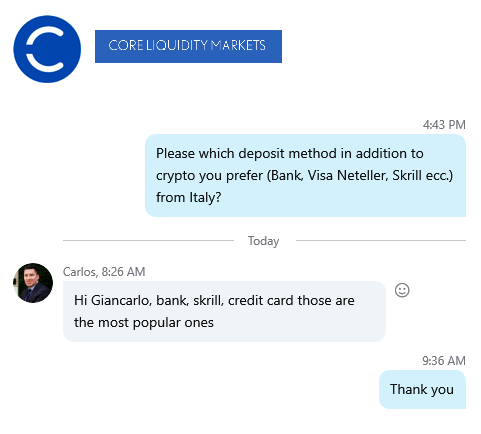 Skype, February 23, 2020. Request for CLM deposit methods