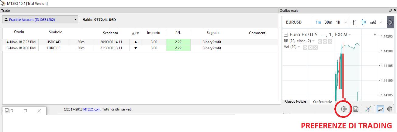 schermata che mostra i trade in arrivo