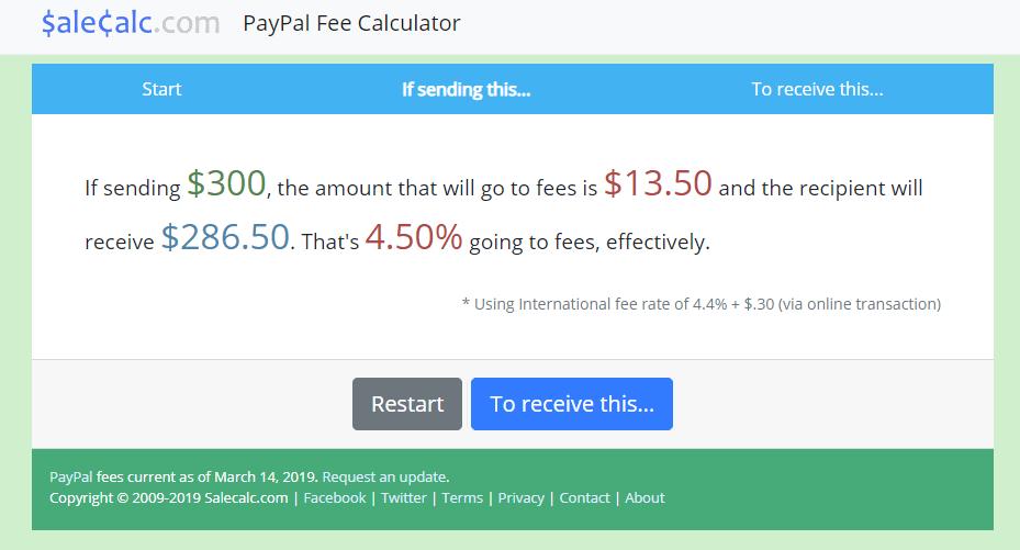 Calcolatore commissioni PayPal